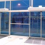 Automatic comfort air curtains above open door create optimal indoor climate